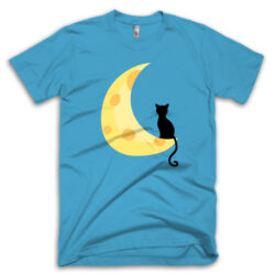 Black Cat Mom Shirt Crescent Moon T-Shirt ocean-blue