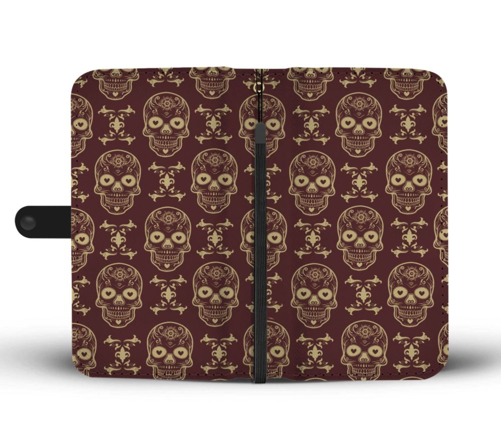 Awesome Sugar Skull Pattern Smartphone Wallet Case