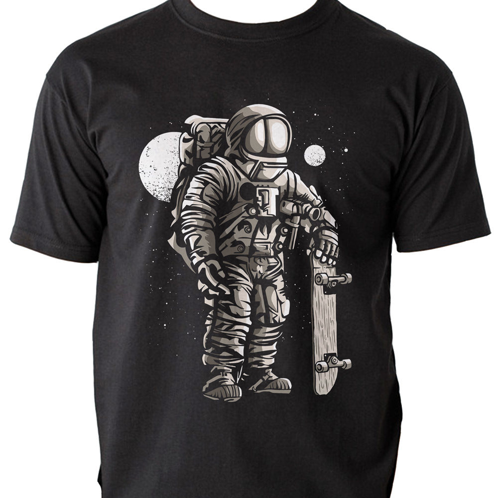 astronaut skateboard space galaxy tshirt